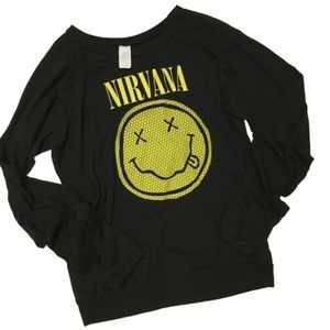 90'S NIRVANA smiley face tee band shirt XL